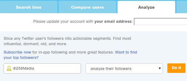 Free Twitter Follower Analyser Tool