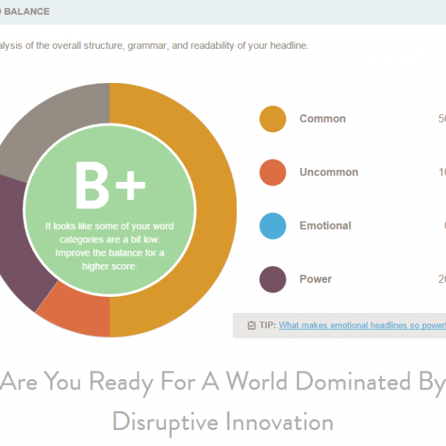 CoSchedule Headline Analyser Readability and Disruptive Innovation