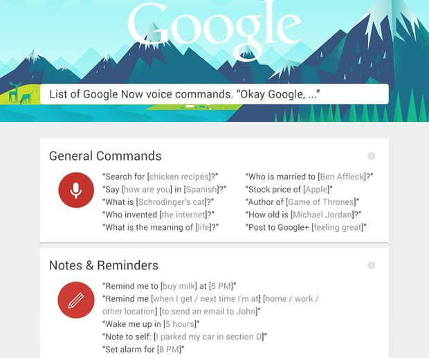 "Google Now Commands ""Okay Google"""