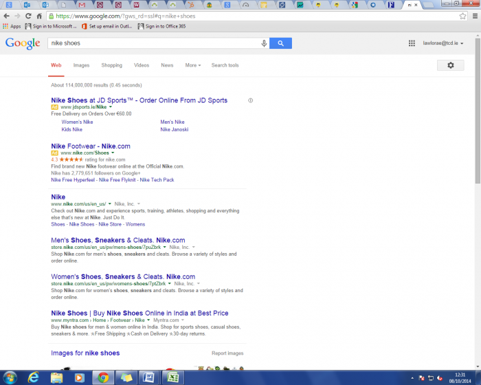 search results showing google review stars