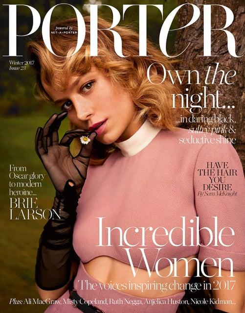 Net a Porter's custom publishing product Porter magazine with Brie Larson