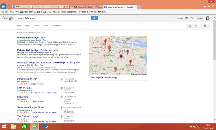 Google reviews pubs