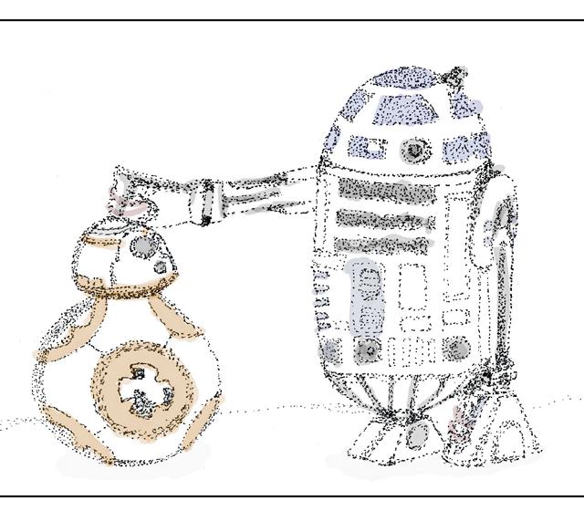 R2D2 BB8 Content Marketing Illustration
