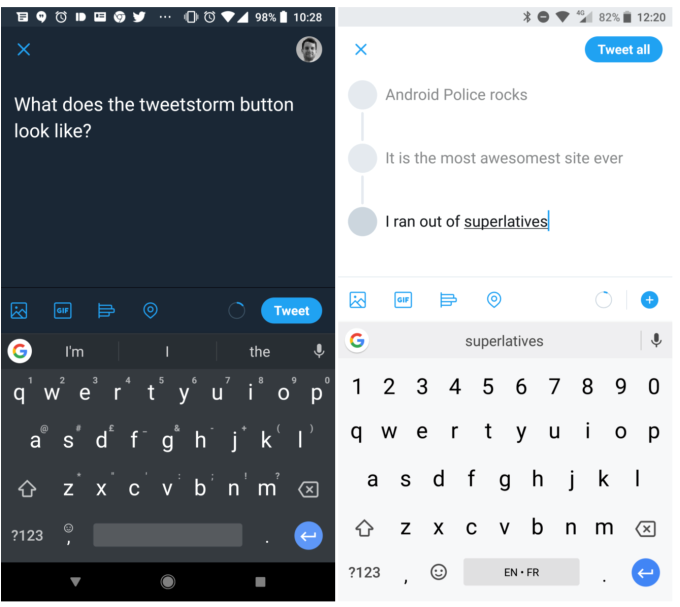 Twitter increased character limit, Tweetstorm, Tweetstorm button, new social platform features 2018