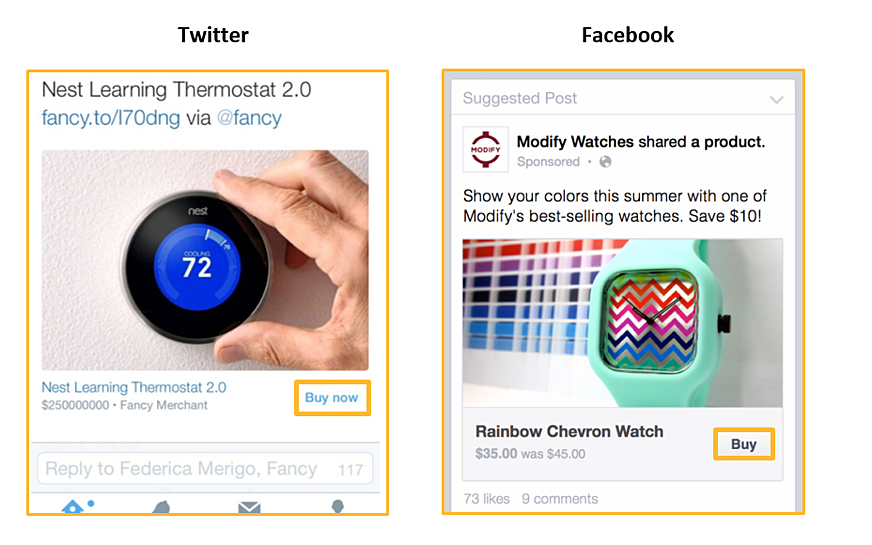 The 'Buy' button in action on Facebook and Twitter.