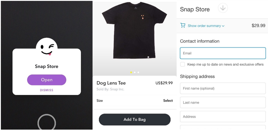 social media online shopping, Snapchat in app purchases, Snap Store